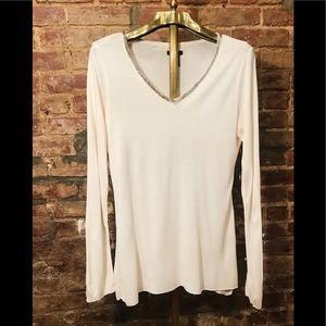 Calvin Klein embellished V-neck long sleeve T